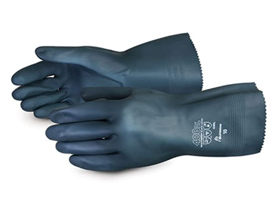 Superior 408BL Heavyweight Unsupported Flock Lined Latex Glove with Diamond Grip, Work, Chemical Resistant, 30 mil Thickness, 12