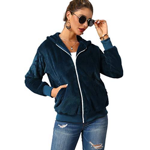 YULINGSTYLE Damen Pulli Winter Sweatjacke Kapuzenjacke Fleece Mantel mit Kapuzen Einfarbig Warm Fleece Pullover übergrößen Teddyfleecejacke GrößEr Wintermantel Flauschjacke PlüSch Mantel Blau M