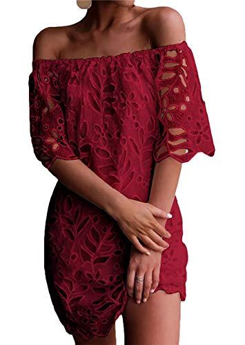 PRETTYGARDEN Women's Sexy Off Shoulder Vintage Floral Lace Flare Short Sleeve Loose Elegant Mini Dress (Wine Red, Large)