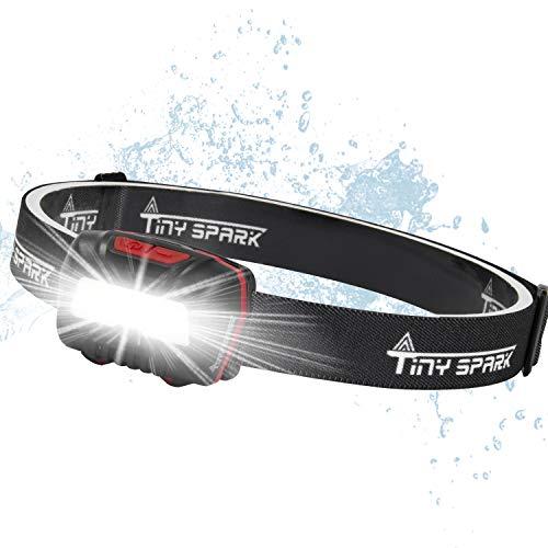 TINYSPARK LEDヘッドライト高輝度 乾電池式 バッテリー 防塵防水 停電 小型 軽量 登山 夜釣り 赤色サブライト付き