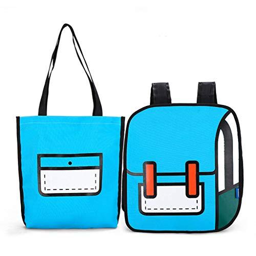Luosh dames nylon schoudertas rugzak set tekening cartoon papier comic schooltassen reizen bookbag voor jongeren meisjes