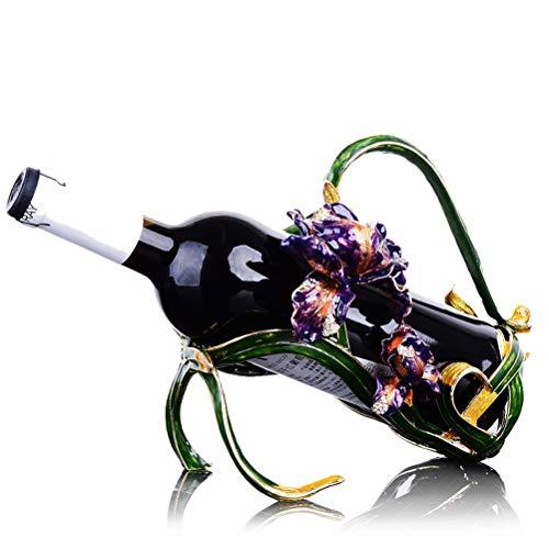 WNDRZ Estante De Vino Tinto Europeo Estante De Vino De Esmalte Creativo Cosecha De Oro Adornos para El Hogar Decoraciones De La Sala De Estar (Color : B)