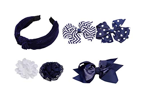 French Toast Girl's School Uniform Bow Clips and Headband, 4-pack, Navy