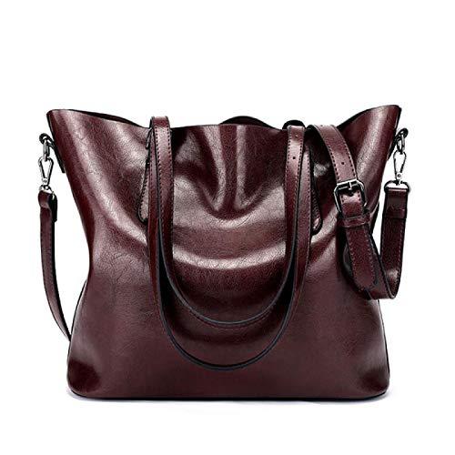 Women Shoulder Bag Handbags Casual Oil Wax Pu Leather Messenger Bags Female Totes 32X13X29Cm DarkRed