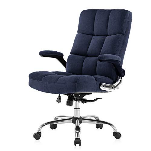 Yamasoro Bürostuhl ergonomisch Schreibtischstuhl Chefsessel mit aufklappbaren Armlehnen, höhenverstellbarer 360° Drehstuhl, Office Chair mit Verstellbarer Lordosenstütze, Büro Stuhl Samt(Dunkelblau)