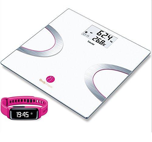 Beurer AS 81 Aktivitätssensor + BF 710 Diagnosewaage (Pink, 360°-Analyse mittels BodyShape App: Körpergewicht, Muskelanteil, Knochenmasse, BMI, Schrittzähler, zurückgelete Strecke, Schlafaktivität)