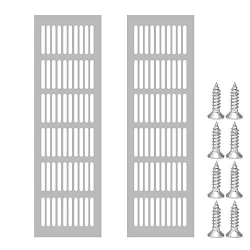 Zasvec Rejilla Ventilación Rectangular 2 Piezas Rejillas de Ventilacion Aluminio Rejilla de Ventilacion Rejilla de Ventilación Metalica Placa de Ventilación Rejilla de Aire 15 * 25cm Plata