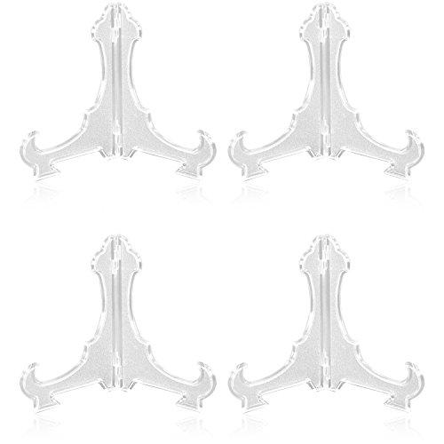 com-four® 4X Staffelei für Sammel-Teller, Schalen, Bücher und Bilder, transparenter Teller-Ständer aus Kunststoff, 14,5 x 16,5 cm (04 Stück)