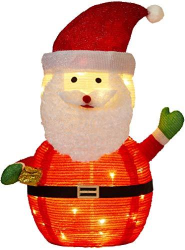 Northpoint LED Weihnachtsmann warmweiß 70cm hoch 45 LEDs Funkeleffekt mit wasserdichtem Batteriefach und integriertem Timer