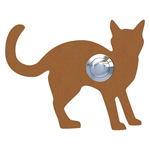 Belknop, design bel, deurbel roestvrij staal gepoedercoat kat, Leo'' roest- Bravios