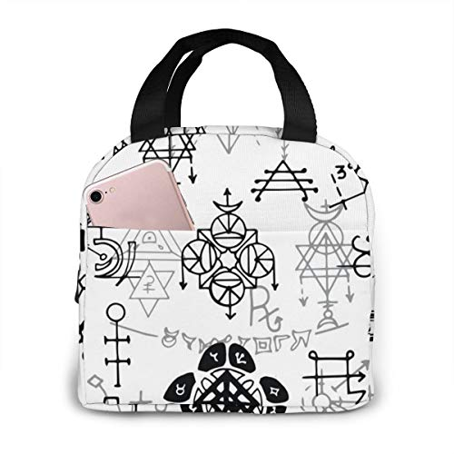 Only On A Je-ep Unisex tragbare wiederverwendbare wasserdichte Thermo-Isolierung Lunchtasche Picknicktasche Einkaufstasche Kühlbox, Übernatürliche Symbole, Einheitsgröße