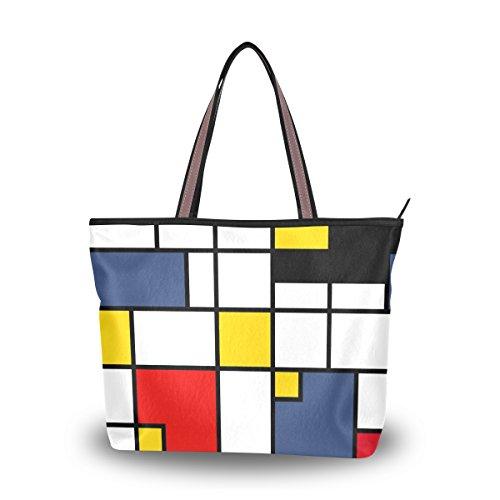 ALAZA Tote Geometric Abstract Pattern Mondrian Style Top Handle Shoulder Bags Women Handbag