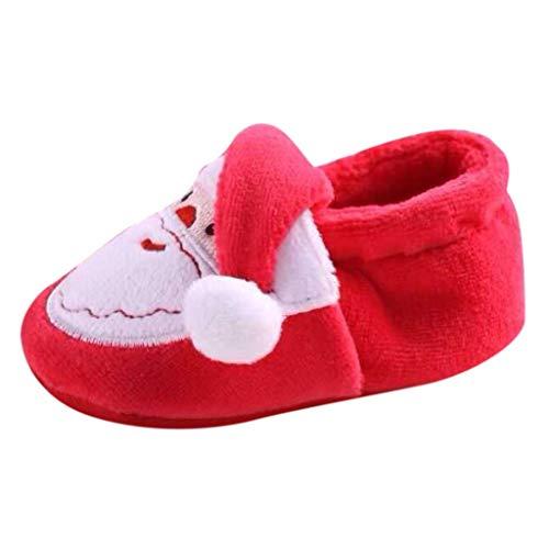 Lazzboy Unisex Baby Hausschuhe Weihnachten Kleinkind Kind Mädchen Jungen Herde Winter Warme Schneeschuhe Bootie Schuhe(Rot-2,11)