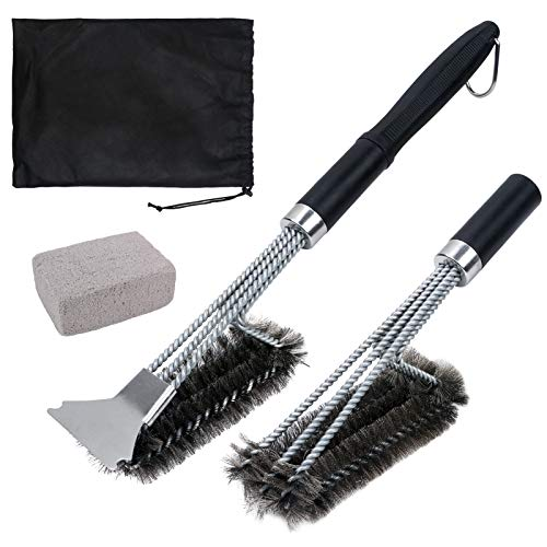 Grill Brush Cleaner 18Inch Handle, 1 Grill Cleaning Kits + 2 Wire Brush Head + 1 Pumice Cleaning Brick Block + 1 Storage Bag 5pcs Heavy Duty Grill Brush, Best for Gas Grill, All Grilling Grates
