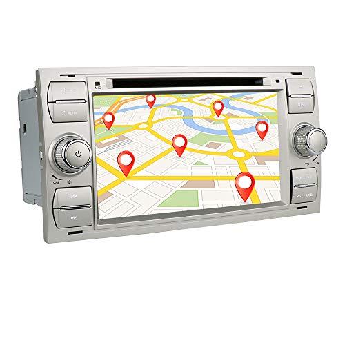 Android 10 2 Din Navigazione GPS per auto Autoradio Bluetooth con schermo da 7 pollici Adatto per Ford Connect Fiesta Galaxy Kuga Supporto Mirror-link WiFi / 4g USB DVR RDS OBD DAB + (Argento)