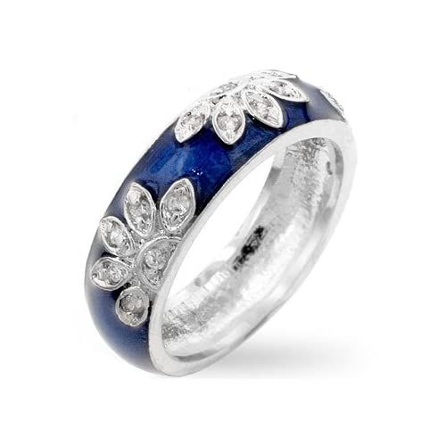 4d547eac7 Genuine Rhodium Plated Navy Blue Enamel Ring with Clear Cubic Zirconia in a  Leaf Design