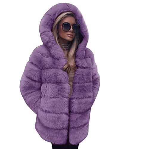 iHENGH Damen Winter Jacke Dicker Warm Bequem Slim Parka Mantel Lässig Mode Reißverschluss Frauen Faux Mit Kapuze Herbst Coat(, M)