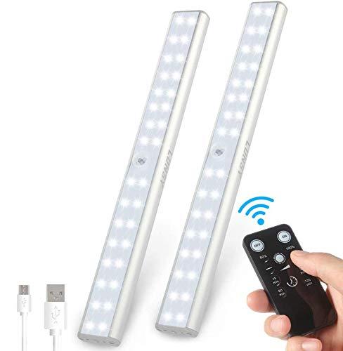 Luces de armario Lunsy de 32 ledes, 6000 K, luz regulable para armarios con mando a distancia y USB recargable para cocina, armario, garaje, etc.