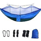 BSFYUK Doppia Camping Hammock con zanzariera Leggeri in Nylon Parachute Amache per Camping Corda del Cotone di Viaggio Beach Escursionismo Backyard (Contenere Fino a 800lbs),Royal Blue