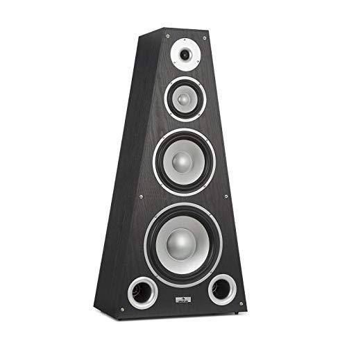 AUNA SP-800 - altoparlante HI-FI, altoparlante-box, Tecnica a 4 vie, frequenza 20 Hz a 20 kHz, 89 dB di sensibilità, 6 Ohm di impedenza, forma piramidale, max. 330 W, Custodia in legno, nero