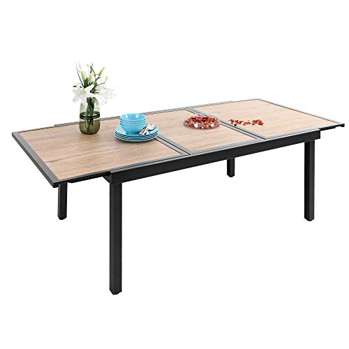 PHI VILLA Expandable Home Dining Table, Adjustable Metal Patio Outdoor Garden Table for 6-8 Person Home Kitchen Dining Party Use, Wood Like Top