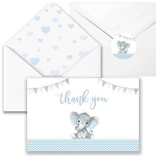 40 Elephant Baby Shower Thank You Card with Envelopes-Blue Watercolor Elephant Baby Boy Cards- 4 '' x 6''-Blank inside,Include Stickers