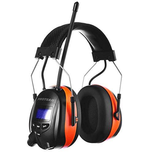 PROTEAR Gehörschutz mit DAB + /FM-Radio und Bluetooth, Wiederaufladbare Gehörschutzkapsel, für Industrie BAU und Mähen-SNR 30dB