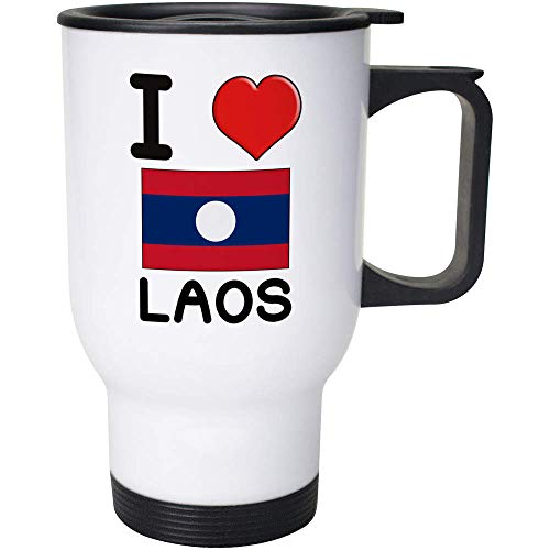 Stamp Press 400ml 'I Love Laos' Wiederverwendbarer Kaffee / Reise-Becher (MG00001031)