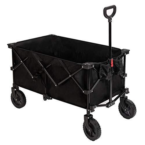 Pacific Pass Camping Folding Wagon Large Collapsible Cart for Outdoor, Garden and Beach Supports 180lbs, Cup Holders and Carry Bag Included,Black