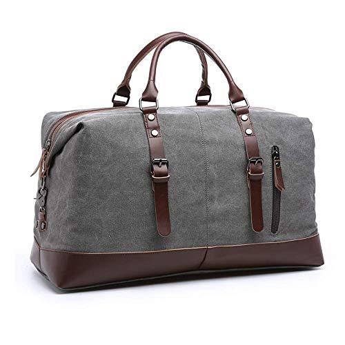 YAOJU Canvas Handgepäck Tasche, Duffel Vintage Segeltuch Canvas PU Leder Unisex Sporttasche für Reise am Wochenend Tragetasche Schultertasche Handtasche Travel Bags (Grey)