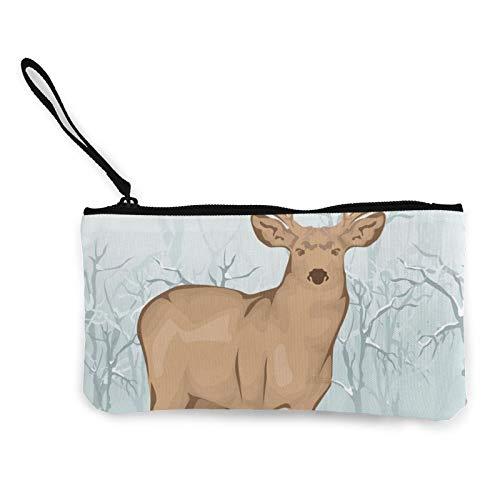Moneda de lona, monedero de reno animal con cremallera, bolsa de cosméticos de viaje multifunción, bolsa de maquillaje para teléfono móvil, paquete de lápices con asa