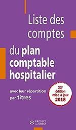 Liste des comptes du plan comptable hospitalier avec leur répartition par titres de Jean-Claude DELNATTE