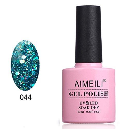 AIMEILI Smalto Semipermente per Unghie in Gel UV LED Smalti per Unghie Colori per Manicure con Brillantini - Diamond Glitter Teal Blue Green (044) 10m