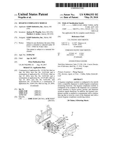 Hygiene compliance module: United States Patent 9984553 (English Edition)