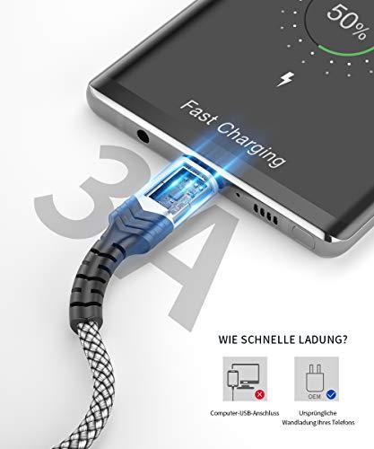 JSAUX USB C Kabel [2 Stück 2M ] Nylon Typ C Ladekabel für Samsung Galaxy S10 S9 S8 Plus,Note 10 9 8,A3 A5 2017,LG G5 G6 V20,HTC 10 U11,Sony Xperia XZ Xa1, Huawei P30 P20 Mate 20 Lite P10 P9 usw Silber