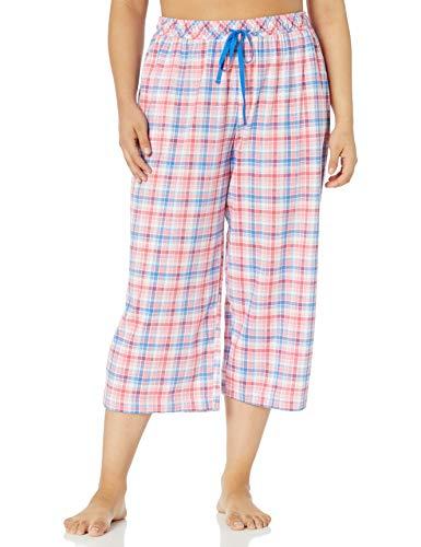 Karen Neuburger Women's Pajamas Cropped Capri Pj Pant, Plaid Coral Pink, Large