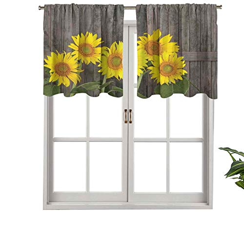 Hiiiman Extra Short Valance Thermal Insulated Window Curtains Helianthus Sunflowers Against Weathered Aged Fence Summer Garden Photo, Set of 1, 42'x18' Home Decorative Panels for Bathroom