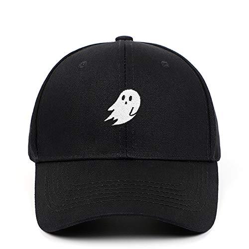 Ghost Embroidered Caps Halloween Men Women Baseball Cap Pure Color Snapback Hat (Black)