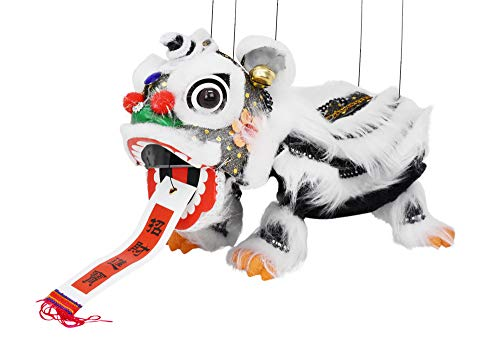 Mandala Crafts Hand String Puppet with Rod, Chinese Marionette Lion Toy, Black on White