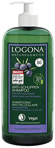 LOGONA Naturkosmetik Anti-Schuppen Shampoo Bio-Wacholderöl, Effektiv gegen Schuppen & Neubildung, Beruhigt gereizte&trockene Kopfhaut, Vegan, Vorteilsgröße & Pumpspender,...