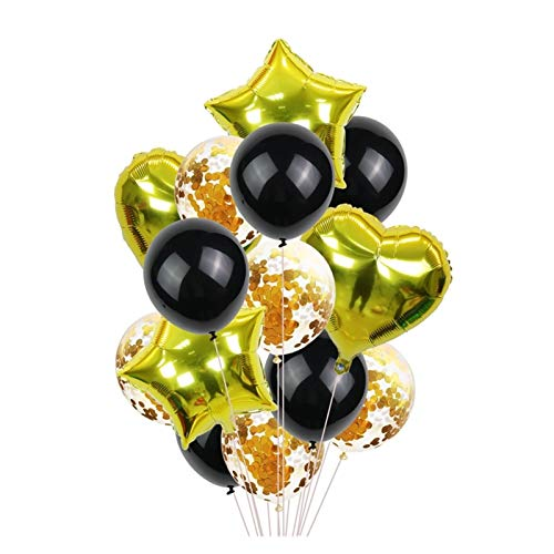 JSJJAWD balloon 14Pcs Multi Confetti Balloon Happy Birthday Party Balloons Rose Gold Helium Ballons Boy Girl Shower Party Supplies (Color : Gold black)