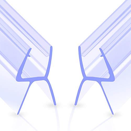 Qhui Duschtür Dichtung 2 x 100 cm Duschdichtung, Wasserabweiser Dichtung Dusche Glastür für 6mm/7mm/8mm Glasdicke, Verdickte Duschkabinen Dichtungen mit Gummilippe Duschlippe