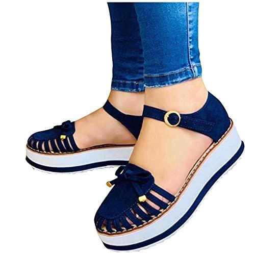 Writtian Sandalias para Mujer, Nuevas Sandalias Informales con Hebilla para Nevera, tacón, Plataforma Plana, Verano, Sandalias de Talla Grande para Mujer, Sandalias para Mujer, Zapatos 2021