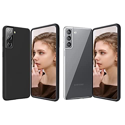 2X Cover per Samsung Galaxy S21/S21 5G, Custodia Morbido e Liscio Silicone Nero+ Protettivo TPU Trasparente Ultra Sottile Case, 【AntiGraffio 】【Antiurto】 【Anti-Giallo】【 Facile da Pulire】