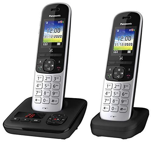 Panasonic Schnurlostelefon KX-TGH722GS mit Anrufbeantworter und zusätzlichem Mobilteil, Babyphone und Eco Plus Modus Schwarz-Silber