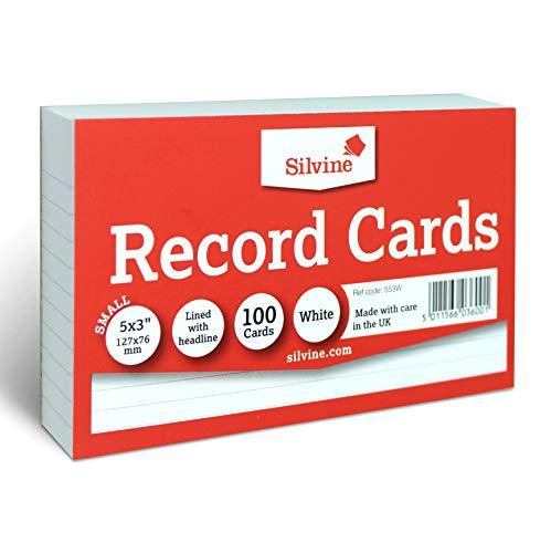 Silvine 12 x 76 cm płyty - wyłożone nagłówkiem, 100 kart w opakowaniu. Nr 553 W (127 x 76 mm)