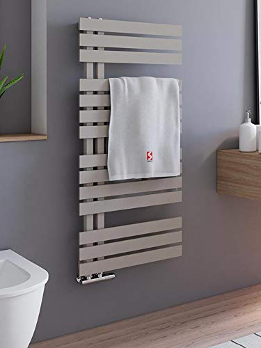 Schulte H02410650 Badheizkörper Breda, 106 x 50 cm, 477 Watt Leistung, Anschluss unten, Café braun, Heizkörper mit Handtuchhalter-Funktion