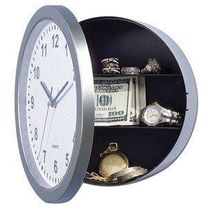 Reloj de pared con caja fuerte. Discreto. Permite ocultar objetos. Diseño con bisagras. Reloj real.
