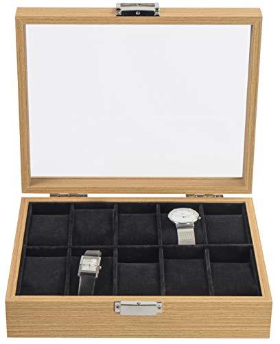 LAUBLUST Uhrenbox Holz-Optik 10 Fächer - ca. 26 x 21 x 7 cm, Naturbraun | Uhrenkasten mit Glas-Deckel