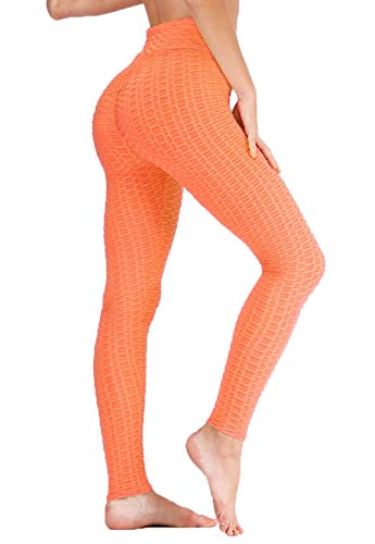 ASKSA Damen Sport Leggings Yoga Fitness Hose Lange Sporthose Stretch Workout Fitness Anti-Cellulite Butt Lift Hosenanzug Trainingsanzug Jogginghose (Orange, M)